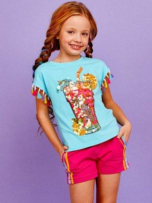 Фуфайка 92% хлопок, 8% эластан Фуфайка (футболка) д/дев Juno SS21GJ525 Sweet Rainbow