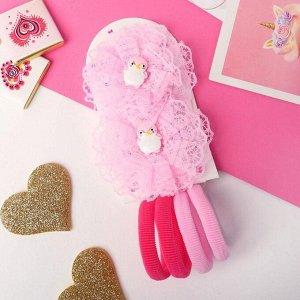 """Набор для волос """"Устинья"""" (4 резинки 4 см, 2 зажима 6 см) пингвинёнок, розовый"""