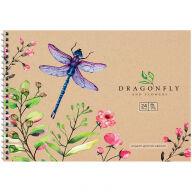 "Альбом для рисования 24л., А4, на гребне ArtSpace ""Цветы. Dragonfly and flowers"""