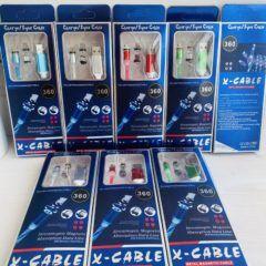 Магнитный кабель USB – Micro USB / Lighting / USB TYPE C ЗЕЛЕНЫЙ ( 3 НАСАДКИ )СВЕТЯЩИЙСЯ X-Cable Metal Magnetic Cable 360