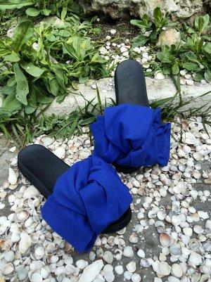Шлепанцы с бантами из синего хлопка Cotone