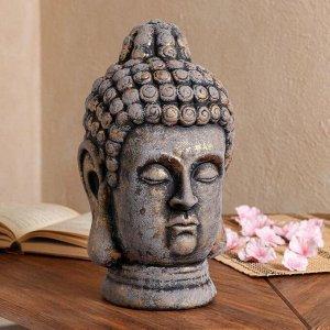 """Статуэтка """"Голова Будды"""" состаренный, серый камень, 32 см"""