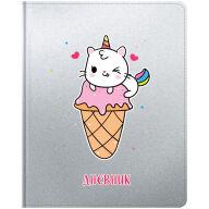 """Дневник 1-11 кл. 48л. (твердый) """"Ice cream kitty"""", иск. кожа, ляссе, печать"""