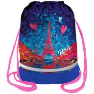 "Мешок для обуви 1 отделение Berlingo ""Eiffel Tower"", 510*400мм, расшир. дно, светоотр. лента, карман на молнии"