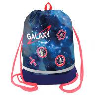 "Мешок для обуви 1 отделение Berlingo ""Galaxy"", 510*400мм, расшир. дно, светоотр. лента, карман на молнии"