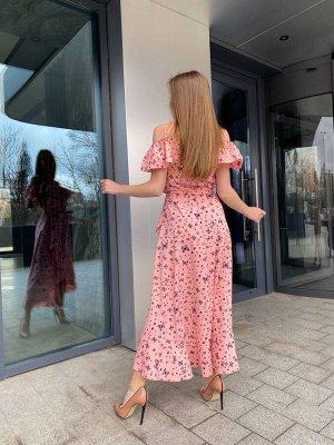 Платье Описание: –Размер:42-44 –Цвет:Розовый –Материал:Софт –Страна-производитель товара:Украина –Длина изделия, см:124 см –Длина:Макси –Декорирование:С принтом бабочки –Особенн