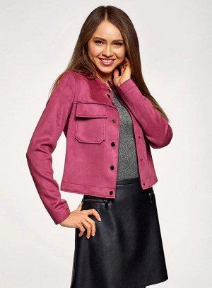 Куртка из искусственной замши с накладными карманами