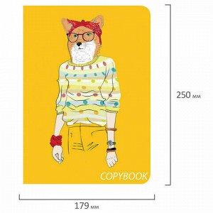Тетрадь 60 л. в клетку обложка SoftTouch, бежевая бумага 70 г/м2, сшивка, В5 (179х250 мм), FOXY, BRAUBERG, 403815