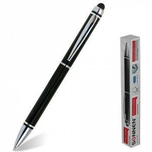 Ручка-стилус SONNEN для смартфонов/планшетов, СИНЯЯ, корпус черный, серебристые детали, линия письма 1 мм, 141589