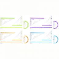 """Набор чертежный большой Berlingo """"Color"""" (треуг. 2шт, линейка 30см, транспортир), прозрачный"""