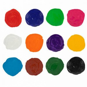 Краски акриловые для рисования и хобби BRAUBERG 12 цветов по 20 мл, 191602