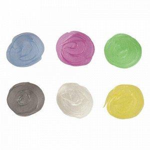 Краски акриловые ПЕРЛАМУТРОВЫЕ для рисования и хобби BRAUBERG 6 цветов по 20 мл, 191603