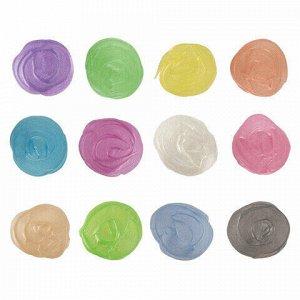 Краски акриловые ПЕРЛАМУТРОВЫЕ для рисования и хобби BRAUBERG 12 цветов по 20 мл, 191604