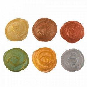 Краски акриловые МЕТАЛЛИК для рисования и хобби BRAUBERG 6 цветов по 20 мл, 191605