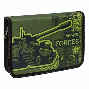Пенал ПИФАГОР, 1 отделение, 1 откидная планка, ткань, 20х14 см, Armed Forces, 229205
