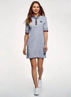 Платье в спортивном стиле с молнией на горловине                   Серый