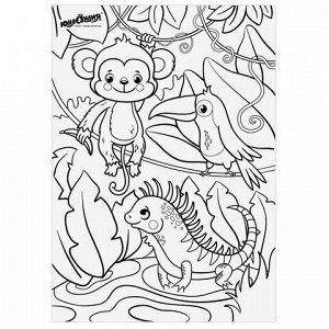 """Карандаши цветные мягкие ЮНЛАНДИЯ """"САФАРИ"""", 6 цветов, корпус с печатью, трехгранные, с раскраской, 181579"""