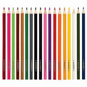 """Карандаши цветные мягкие ЮНЛАНДИЯ """"ЗАБАВНЫЕ КАРТИНКИ"""", 18 цветов, классические, заточенные, 181644"""