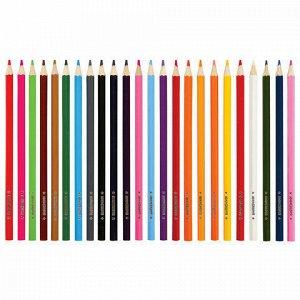 """Карандаши цветные мягкие ЮНЛАНДИЯ """"ЗАБАВНЫЕ КАРТИНКИ"""", 24 цвета, классические, заточенные, 181645"""