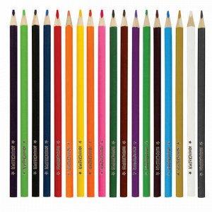 """Карандаши цветные супермягкие ЮНЛАНДИЯ """"ЭКЗОТИКА"""", 18 цветов, трехгранные, с раскраской, 181648"""