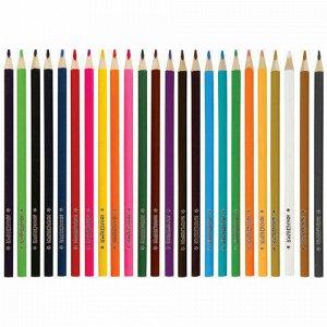 """Карандаши цветные супермягкие ЮНЛАНДИЯ """"ЭКЗОТИКА"""", 24 цвета, трехгранные, с раскраской, 181649"""