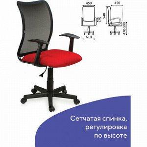 """Кресло BRABIX """"Spring MG-307"""", с подлокотниками, комбинированное красное/черное TW, 531405"""