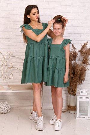 Сарафан варианты цвета: зеленый, полоса ткань: кулирка состав: 100% хлопок Сарафан женский расширенного силуэта на широких бретелях с крылышками. Перед и спинка сарафана с отрезной кокеткой и двумя во