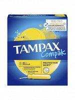 TAMPAX Compak Женские гигиенические тампоны с аппликатором Regular Single 8шт