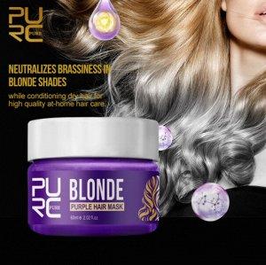 Фиолетовая маска для волос оттенка блонд и мелированных брюнеток, против желтизны, 60 мл