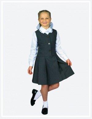 Серый Цвет: серый. Ткань – костюмная поливискоза, 50% вискоза, 50% ПЭ  Классический сарафан на подкладке с заниженной линией талии. Удобная застежка спереди на пуговицах позволяет легко надеть форму д