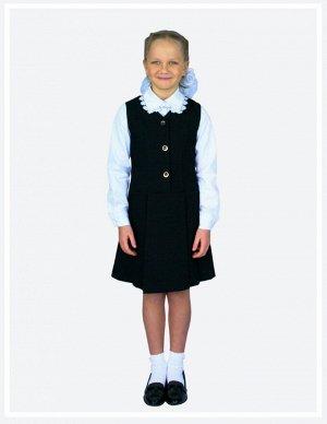 Черный Цвет: черный. Ткань – костюмная поливискоза, 50% вискоза, 50% ПЭ  Классический сарафан на подкладке с заниженной линией талии. Удобная застежка спереди на пуговицах позволяет легко надеть форму