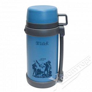 Термос 1,2л синий стальной с рисунком, широкое горло: для густых блюд и напитков TalleR TR-2421
