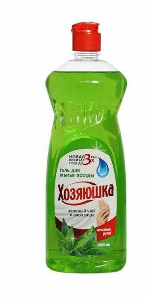 Гель д/мытья посуды ВЫГОДНАЯ УБОРКА Хозяюшка Зеленый чай и алоэ вера 1л