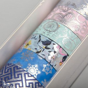 "Клейкая лента бумага ""Рисунок с серебром"" н-р 10 шт шир.-1,5см дл.-5м 4,5х4,5х15,7 см"