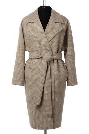 01-10551 Пальто женское демисезонное (пояс) Микроворса/Клетка бежевый
