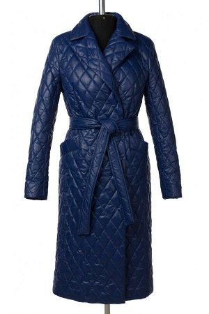 01-10532 Пальто женское демисезонное (пояс) Плащевка синий