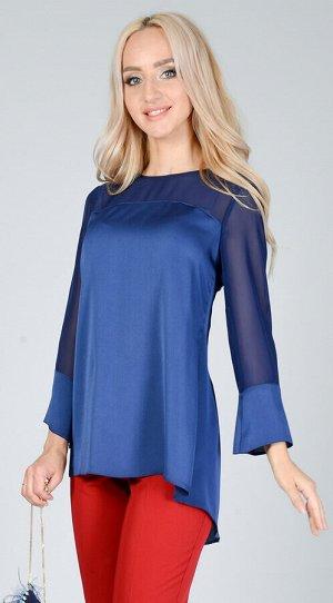 Блуза 1061 Элегантная блуза свободного кроя из летящего крепа в сочетании с прозрачным шифоном не оставит модниц равнодушными! Застежка по спинке  на воздушную петлю и пуговицу. Ткань - вискозный шёлк