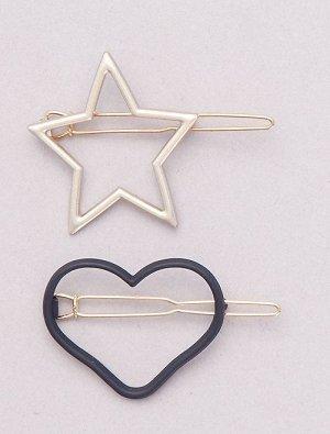 Комплект из 2 заколок — с сердцем и звездой
