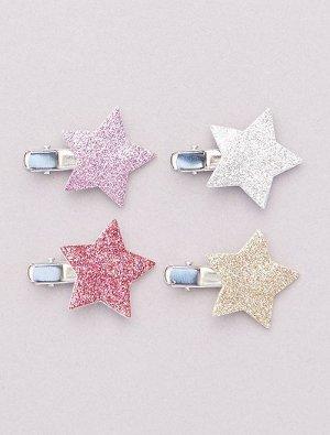 Комплект блестящих заколок со звездой на конце