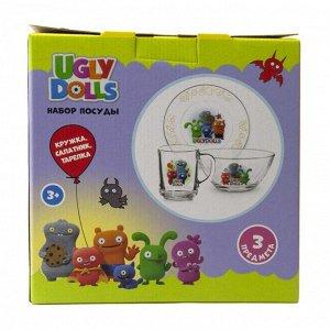"Набор посуды ""Куклы"" Дизайн 1 (3 предмета: кружка, салатник, тарелка), стекло"