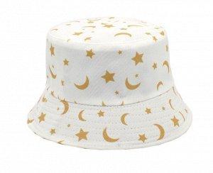 """Панама унисекс, принт """"Месяц и звезды"""", цвет белый"""