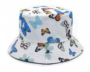 "Панама унисекс, принт ""Бабочки"", цвет белый"