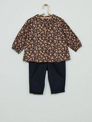 Комплект из рубашки и брюк из твила