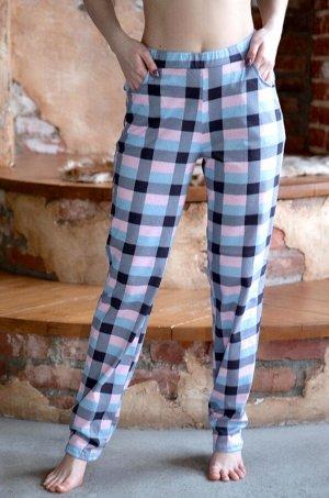 Женские трикотажные брюки в клетку