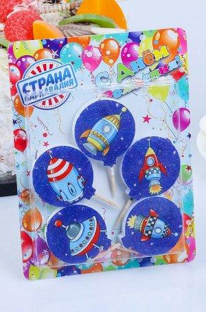 Страна Карнавалия, Набор свечей для торта Космос 5 шт Страна Карнавалия