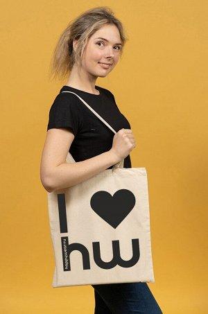 Женская эко-сумка шоппер с надписью I love happywear