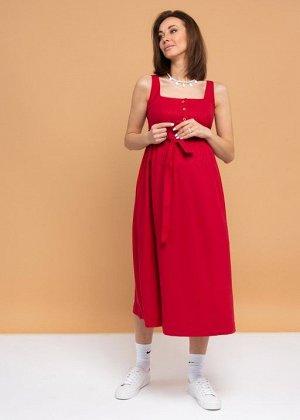 """Летнее платье-сарафан с пуговицами и поясом для беременных и кормления """"Даника""""; красный"""