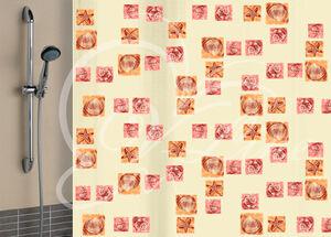 Штора для ванной комнаты, 180 х 180 см, с кольцами, полиэтилен, бежевый, РАКУШКИ New, 1/40