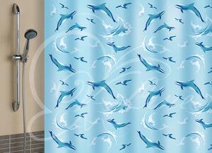 Штора для ванной комнаты, 180 х 180 см, с кольцами, полиэтилен, голубой, ДЕЛЬФИНЫ New, 1/40