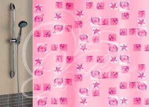 Штора для ванной комнаты, 180 х 180 см, с кольцами, полиэтилен, розовый, РАКУШКИ New, 1/40